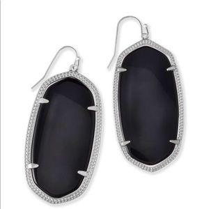 Danielle Silver Drop Earrings Black Opaque Glass